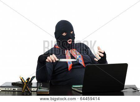 Computer Robber Holding Usb Flesh Memory On Knife
