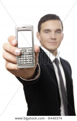 Businessman Showing Cell Phone