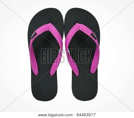 pink and black flip flop sandals isolated