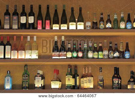Bottle display at Bar