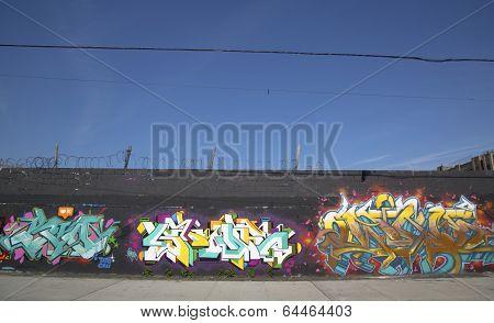 Graffiti wall at East Williamsburg neighborhood in Brooklyn