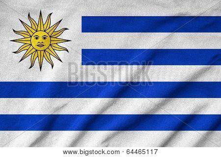 Ruffled Uruguay Flag