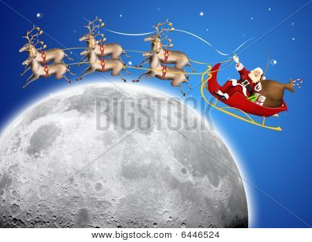 Santa Claus In His Deer Sled