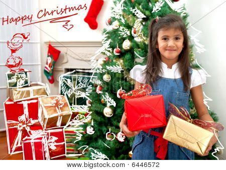 Christmas Girl With Presents