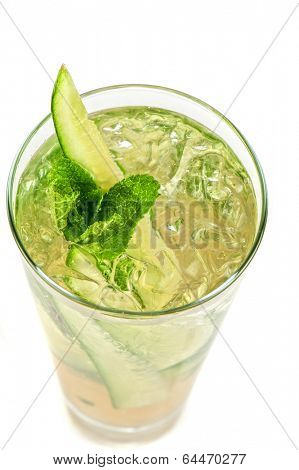 Fresh cocktail with cucumber, apple juice, lemon juice and ice  isolated on white background