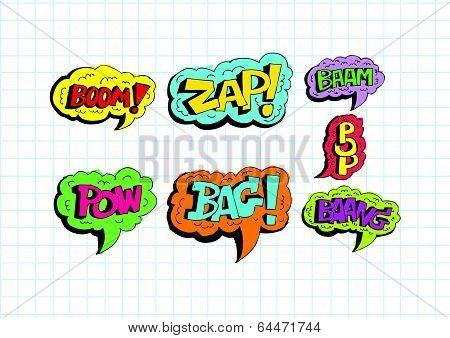 multicolored comic sound Effects Speech Bubble Cartoon
