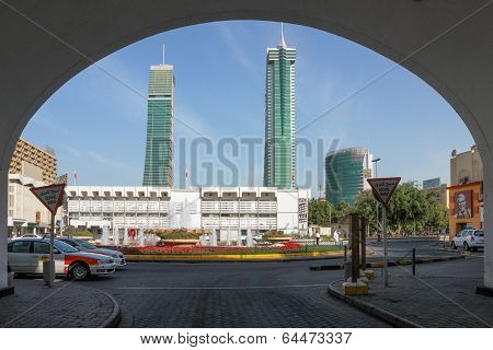 MANAMA, BAHRAIN - FEBRUARY 27, 2009: Bahrain Financial Harbor towers from