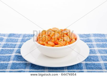 Sliced Carrots In White Bowl