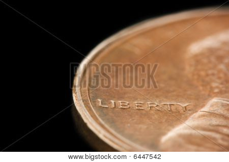 "Macro Of ""liberty"" On A Penny"