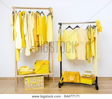 Dressing closet with yellow clothes arranged on hangers.
