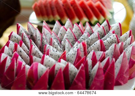 Slice Of Dragon Fruit On A Plate