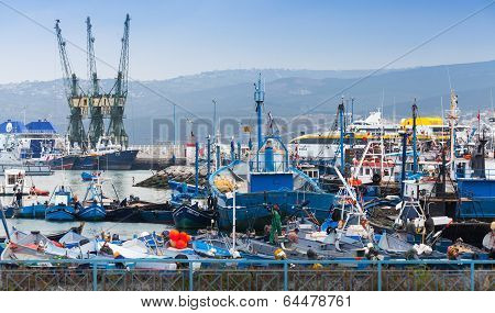 Tangier, Morocco - March 22, 2014: Colorful Fragment Of Old Port With Small Fishing Boats