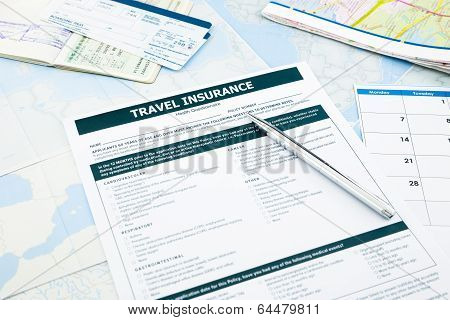 Travel Insurance Form, Passport And Tickets