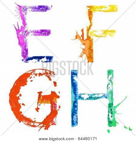 Vector paint splash font E,F,G,H