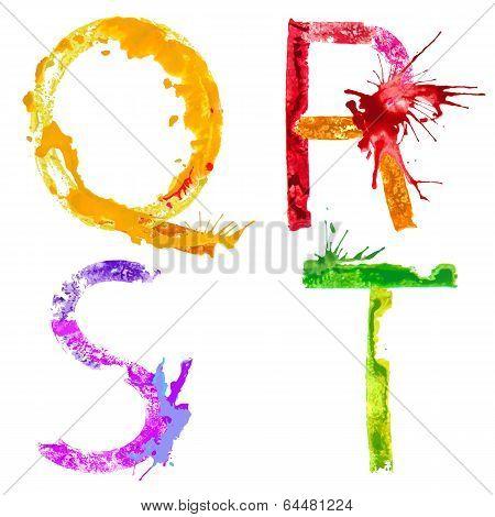 Vector paint splash font Q,R,S,T