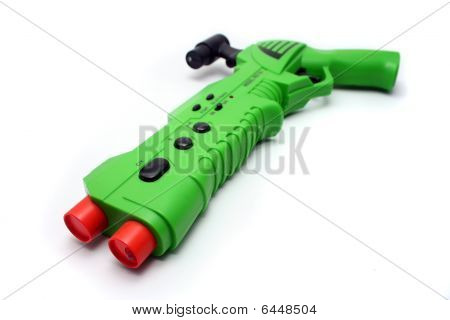 Green Video Game Gun Controller On White
