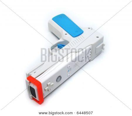 White Video Game Gun Controller On White