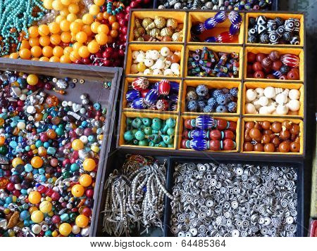 Beads displayed for sale at Pangiayuan market in Beijing in China