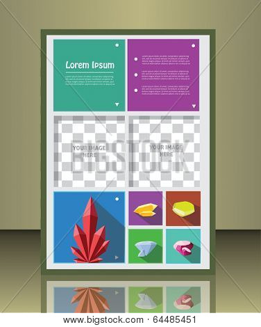 Vector  business brochure or magazine cover  template with gems.  image placeholder