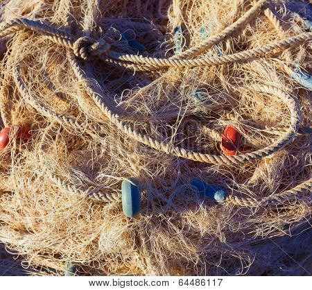 Fishing trammel net tackle texture in Gandia port of Valencia Spain