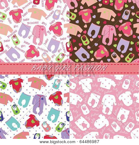 Clothes For Newborn Baby Girl In Seamless Pattern Set