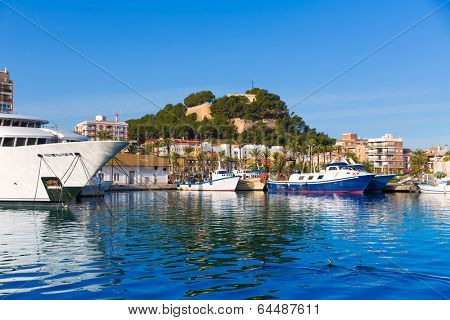 Denia Port with castle hill and yacht in Alicante province Spain