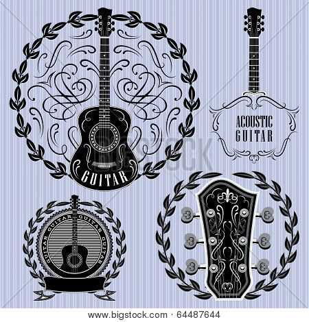 Set Of Labels With Acoustic Guitars