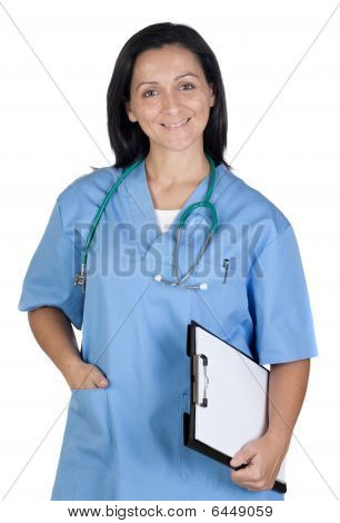 Attractive Doctor Woman With Clipboard
