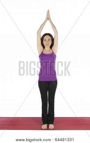 Woman Doing Prayer Pose In Moon Salutation Flow