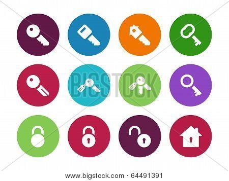 Key circle icons on white background.