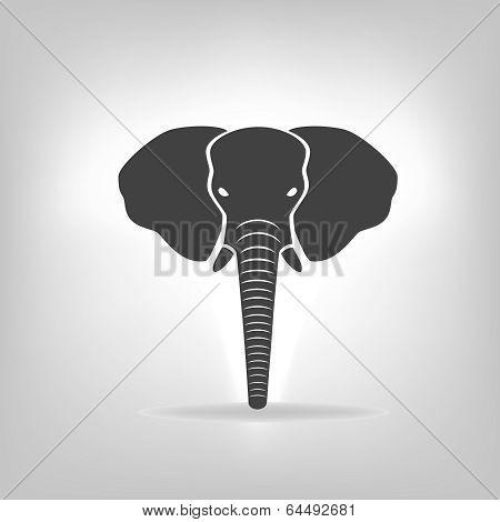 Gray Emblem Of An Elephant On A Light Background