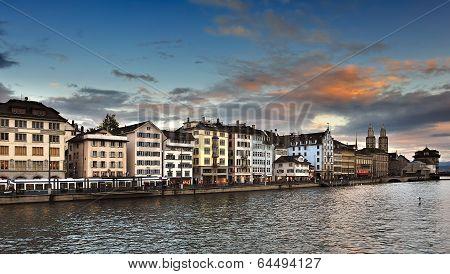 Limmat river and Zurich