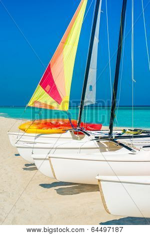 Colorful sailing boats on a sunny day at Varadero beach in Cuba
