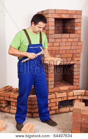 Man Building Masonry Heater