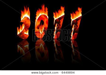 2011 New Year Numbers In Fire With Reflecting