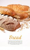 stock photo of french pastry  - Different types of bread with space for text - JPG