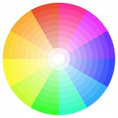 stock photo of color wheel  - detailed illustration of a ten step color wheel - JPG
