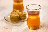 stock photo of baklava  - Baklava and sulemani tea - JPG