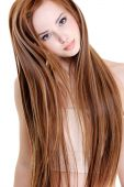 stock photo of red hair  - portrait of the beautiful young woman with beauty long straight hairs - JPG