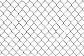 stock photo of chain link fence  - Real Chain Link Fence with White Background - JPG