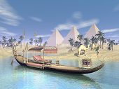 stock photo of throne  - Egyptian sacred barge with throne floating on water near beach - JPG