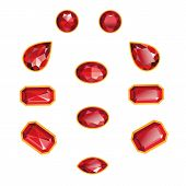 stock photo of octagon  - Rubies set different cut  - JPG