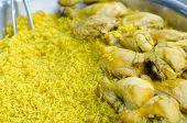 picture of biryani  - Chicken Biryani with green chutney - JPG
