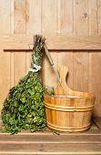 image of sauna  - Sauna broom and bucket in home sauna - JPG