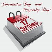 stock photo of citizenship  - Vector image calendar 17 September Constitution Day and Citizenship Day - JPG