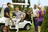 picture of cart  - Happy companionship ready for golfing around golf cart - JPG