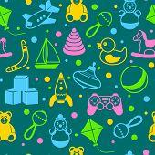 stock photo of boomerang  - Children toys outline pattern of teddy bear rattle kite vector illustration - JPG
