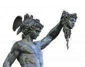 image of medusa  - etail of statue of Perseus holding the head of Medusa on white background Florence Italy - JPG