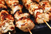 stock photo of bbq food  - healthy shish kebab  - JPG