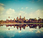picture of hindu temple  - Vintage retro effect filtered hipster style travel image of Cambodia landmark Angkor Wat with reflection in water - JPG